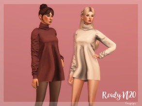 Sims 4 — High Neck Dress - DR369 by laupipi2 — New cozy hign necj dress perfect for fall outfits! Autumn color palette