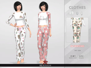 Sims 4 — Cats PJ Pants for Women 01 by remaron — -06 Swatches available -All lods -Custom CAS thumbnail -Base Game