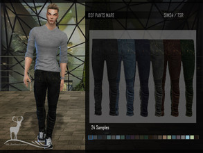 Sims 4 — DSF PANT MARE by DanSimsFantasy — Tight and long masculine blue jeans trousers, ideal to wear with short collar