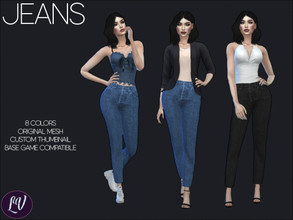 Sims 4 — Jeans Vol.1 by linavees — Original Mesh 8 colors Custom thumbnail Base game compatible Happy simming!