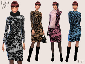 Sims 4 — KnittedDress by Paogae — Knitted dress, simple and warm, is available in four colors combined with black.
