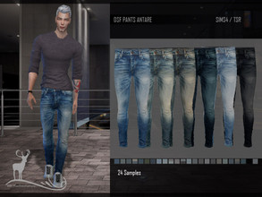 Sims 4 — DSF PANT ANTARE by DanSimsFantasy — Pants blue jeans, ideal to wear with short-necked shoes. 27 shades