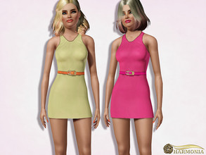Sims 3 — Safety Pin Belted Dress by Harmonia — 3 color. Recolorable Please do not use my textures. Please do not