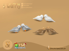 Sims 4 — Holiday Wonderland - Warmy birds sculpture by SIMcredible! — by SIMcredibledesigns.com available at TSR 3 colors