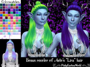 Sims 4 — Bonus recolor of Anto's Lira hair by PinkyCustomWorld — - Recolor in 96 different colors - Custom Thumbnail -
