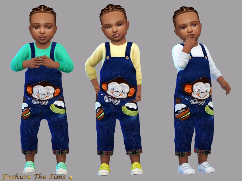 Sims 4 —  Jumpsuit collection / Animals -monkey by LYLLYAN — Jumpsuit collection / Animals in 1 model. Top in 5 colors