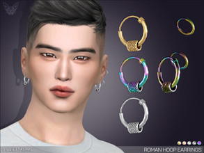 Sims 4 — Roman Hoop Earrings by feyona — This set is available for men and women. * 5 swatches * Base game compatible,