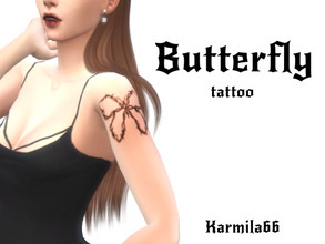 Sims 4 — Butterfly tattoo by Karmila66 — basegame compatible 1 swatch all genders