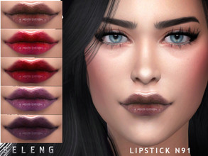 Sims 4 — Lipstick N91 by Seleng — Teen to Elder Female and male 14 colours Custom Thumbnail HQ mod compatible The picture