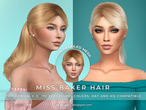 Sims 4 — SonyaSims Miss Baker Hair by SonyaSimsCC — - Long straight ponytail with bangs (fringe). Inspired on Taylor's