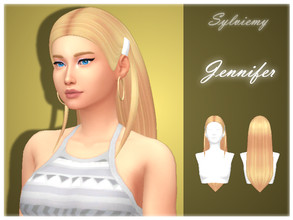 Sims 4 — Jennifer Hairstyle by Sylviemy — New Mesh Maxis Match All Lods Base Game Compatible Hat Compatible Teen-Elder