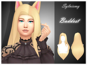 Sims 4 — Ahri The Baddest Hairstyle by Sylviemy — New Mesh Maxis Match All Lods Base Game Compatible Hat Compatible