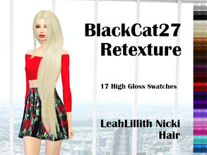 Sims 4 — LeahLillith Nicki Hair Retexture by BlackCat27 — LeahLillith's beautiful Nicki hair, retextured in 17 bright and