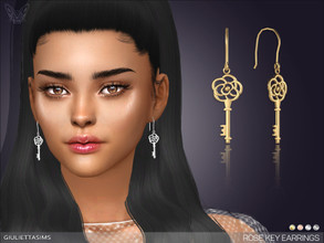 Sims 4 — Rose Key Earrings by feyona — * 4 swatches * Base game compatible, masculine and feminine style choice,