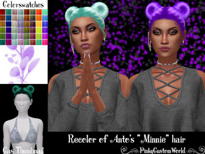 Sims 4 — Recolor of Anto's Minnie hair by PinkyCustomWorld — - Recolor in 48 different colors - Custom Thumbnail - Female