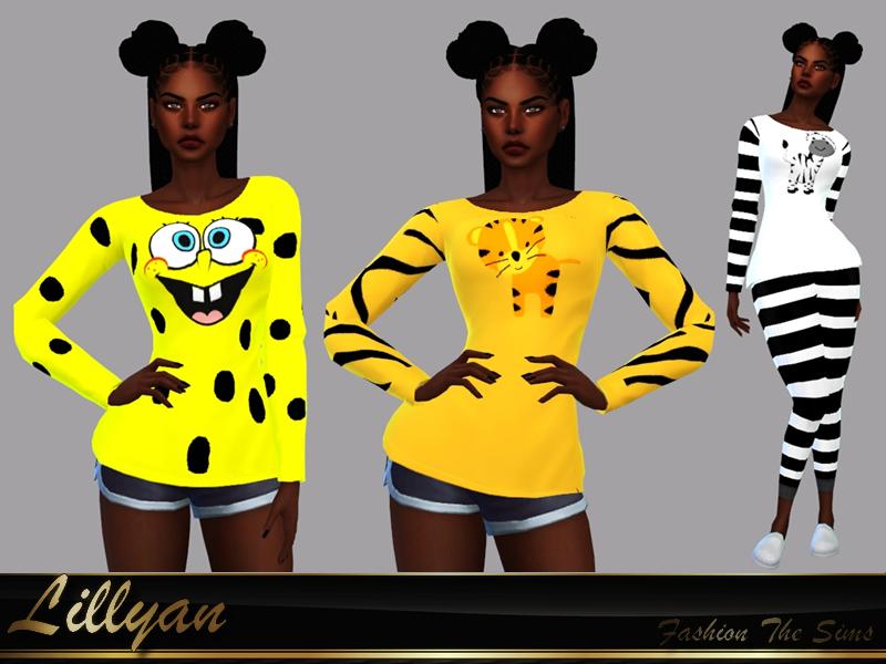 Sims 4 — Pajama /Tops Animal print collection by LYLLYAN — Pajama /Tops in 7 prints Base game.
