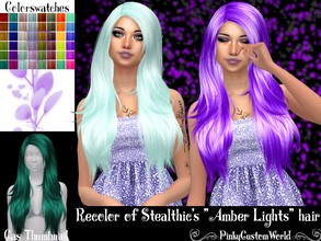 Sims 4 — Recolor of Stealthic's Amber Lights hair by PinkyCustomWorld — - Recolor in 48 different colors - Custom