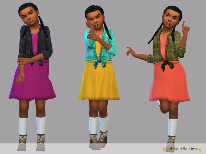 Sims 4 — Dress child Josi by LYLLYAN — Dress in 3 colors Base game Custom thumbnail Mesh edited by me.