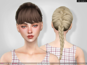Sims 4 — Evermore ( Hair 136 ) by TsminhSims — New meshes - 20 colors - HQ texture - Custom shadow map, normal map - All