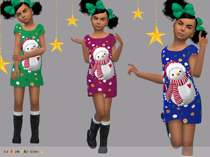 Sims 4 — Dress Mary child by LYLLYAN — Dress Mary child for Christmas in 8 colors . Custom thumbnail Required: The Sims