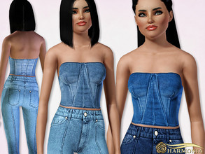 Sims 3 — Strapless Denim Cropped Bustier Top by Harmonia — 3 color. Recolorable Please do not use my textures. Please do