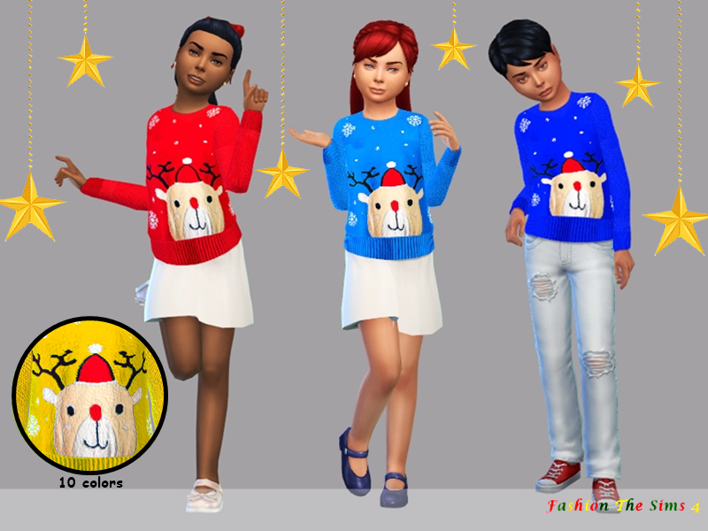 Sims 4 —  Child's Christmas sweater by LYLLYAN — Child's Christmas sweater for girls and boys in 10 colors woolen. Base