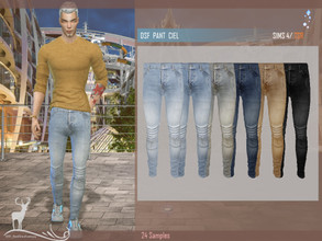 Sims 4 — DSF PANT CIEL by DanSimsFantasy — Slim-fit trousers in denim fabric. It has 25 samples.