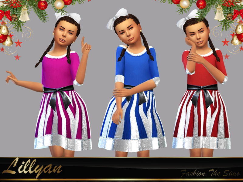 Sims 4 —  Dress child Merry Christmas by LYLLYAN — Dress in 5 colors. Custom thumbnail. Base game