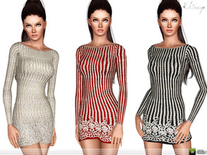 Sims 3 — All Over Embellished Bodycon Dress by ekinege — Dress is features embellished design and long sleeves.