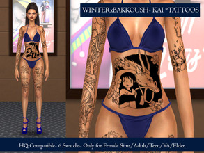 Sims 4 — WinterxBakkoush - KAI Tattoos by WinterxBakkoush — 6 Swatchs Is a Tattoo for female sims For Adult/Young