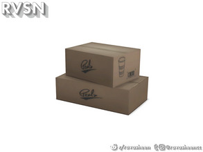 Sims 4 — Enjoy The Lentil Things Boxes by RAVASHEEN — Your basic set of boxes. Branding on the outside is for cups and is