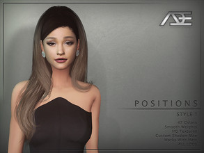 Sims 4 — Ade - Positions Style 1 (Hairstyle) by Ade_Darma — New Hair Mesh 47 Colors HQ Textures No Morph Smooth Weight