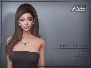Sims 4 — Ade - Positions Style 2 (Hairstyle) by Ade_Darma — New Hair Mesh 47 Colors HQ Textures No Morph Smooth Weight