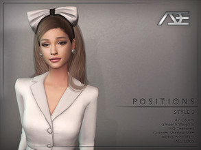 Sims 4 — Ade - Positions Style 3 (Hairstyle) by Ade_Darma — New Hair Mesh 47 Colors HQ Textures No Morph Smooth Weight