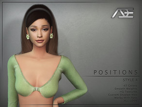 Sims 4 — Ade - Positions Style 4 (Hairstyle) by Ade_Darma — New Hair Mesh 47 Colors HQ Textures No Morph Smooth Weight