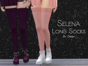 Sims 4 — Selena Long Socks by Dissia — Selena Long Socks 32 swatches (16 colors, with or without nett) Hope you like it