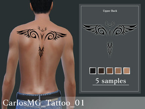 Sims 4 — CarlosMG_Tattoo_01 by CarlosMG — Upper back tattoo. 5 samples. Custom thumbnail. Base game compatible.