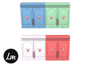 Sims 4 — Birdy cupboard by Lucy_Muni — Kitchen cupboard with birds in 4 swatches Sims 4 base game retexture