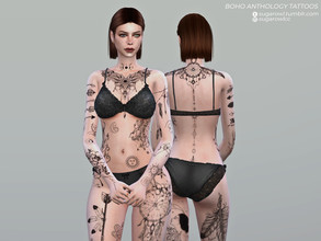 Sims 4 — Boho Anthology tattoos by sugar_owl — This is a remastered version of my Boho Legends | Full body tattoo. I've