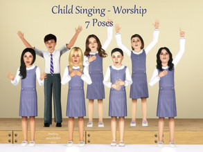 Sims 3 — Child Singing - Worship by jessesue2 — This set can be used in a choir setting or for worship singing at a seat.