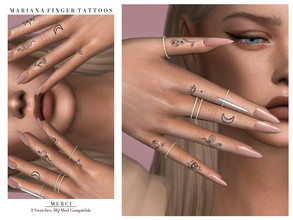 Sims 4 — Marianna Finger Tattoo by -Merci- — New tattoo for Sims4! -Unisex, teen-elder. -No allow for random. Have Fun!