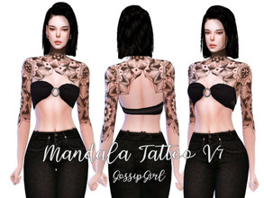 Sims 4 — Mandala Tattoo V7 by GossipGirl-S4 — - works with all skins and overlays - Light and dark swatches - teen to
