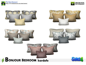 Sims 4 — kardofe_Bonjour Bedroom_Cushions by kardofe — Set of five cushions in five different options, to be placed on