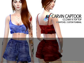 Sims 4 — CC.Camy R Top Set by carvin_captoor — Created for sims4 Original Mesh All Lod 8 Swatches Don't Recolor And Claim