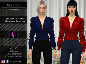 Sims 4 — Altair Top by KaTPurpura — Elegance and class overflows this blouse, with its embellished sleeves and collars.