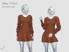 Sims 4 — DRESS N 263 by pizazz — NEW MESH included with download Base game 20 colors / swatches HQ - LODS - MAPS *Hair