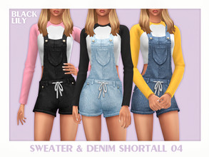 Sims 4 — Sweater & Denim Shortall 04 by Black_Lily — YA/A/Teen 3 Swatches New item Edited EA mesh by me