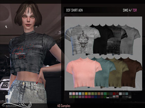 Sims 4 — DSF SHIRT AEN by DanSimsFantasy — Short sleeve cotton T-shirt, medium high round neck. It has 40 samples.