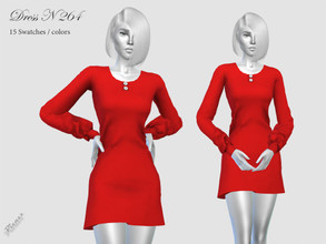 Sims 4 — DRESS N 264 by pizazz — NEW MESH included with download Base game 15 colors / swatches HQ - LODS - MAPS *Hair