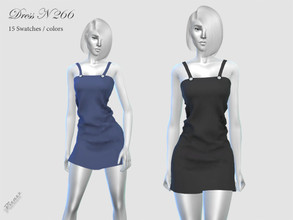 Sims 4 — DRESS N 266 by pizazz — NEW MESH included with download Base game 15 colors / swatches HQ - LODS - MAPS *Hair